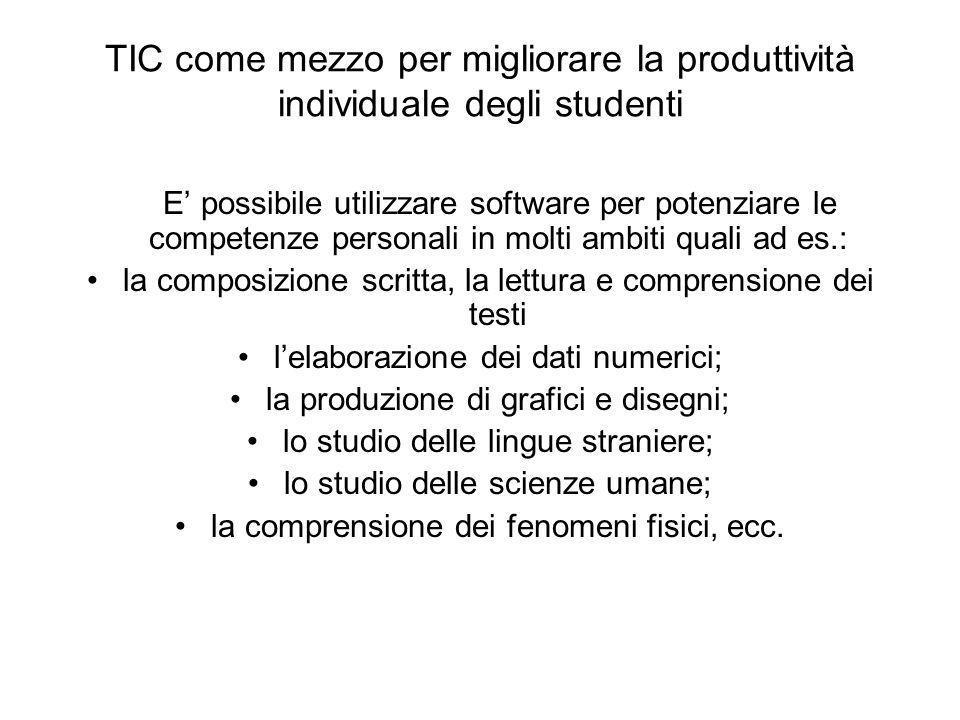 TIC come mezzo per migliorare la produttività individuale degli studenti