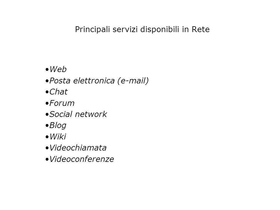 Principali servizi disponibili in Rete