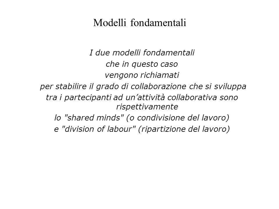 Modelli fondamentali I due modelli fondamentali che in questo caso