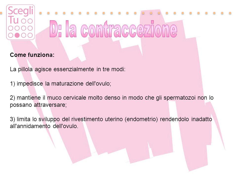 D: la contraccezione Come funziona: