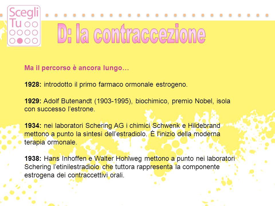 D: la contraccezione Ma il percorso è ancora lungo…