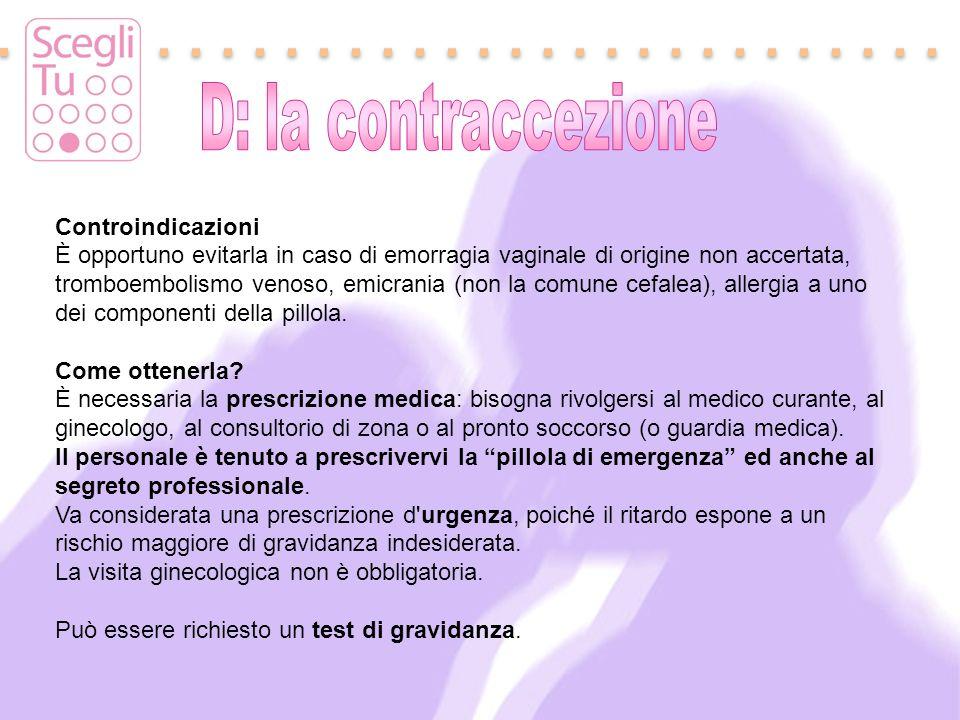 D: la contraccezione Controindicazioni