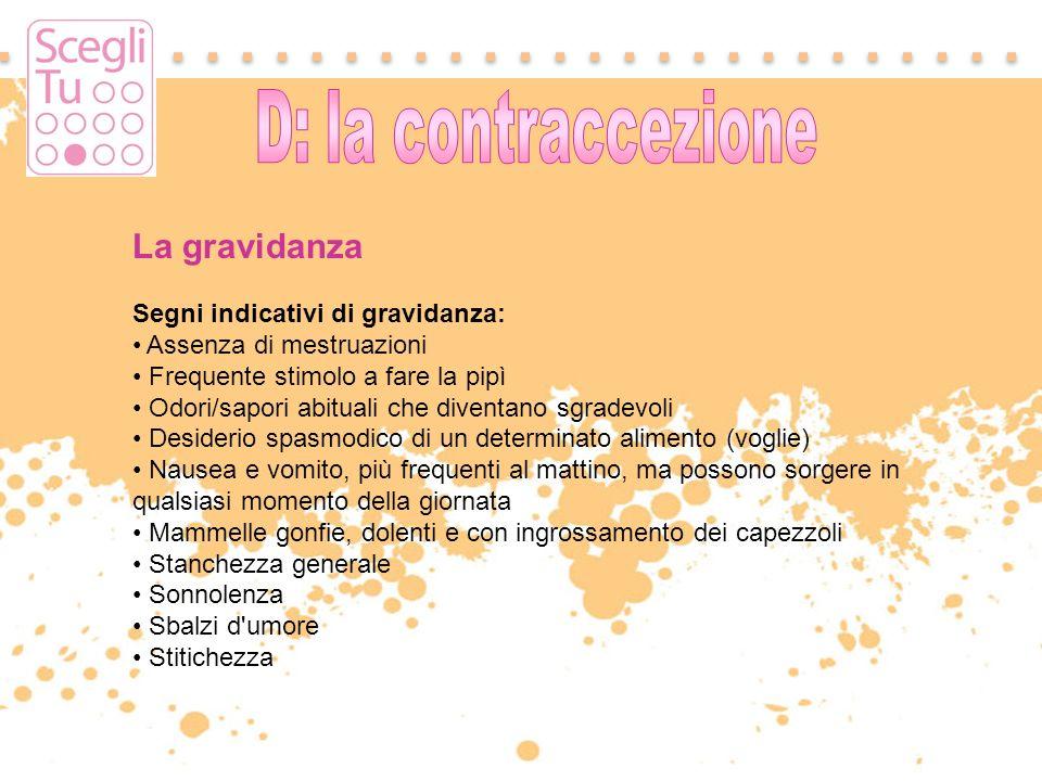 La gravidanza D: la contraccezione Segni indicativi di gravidanza: