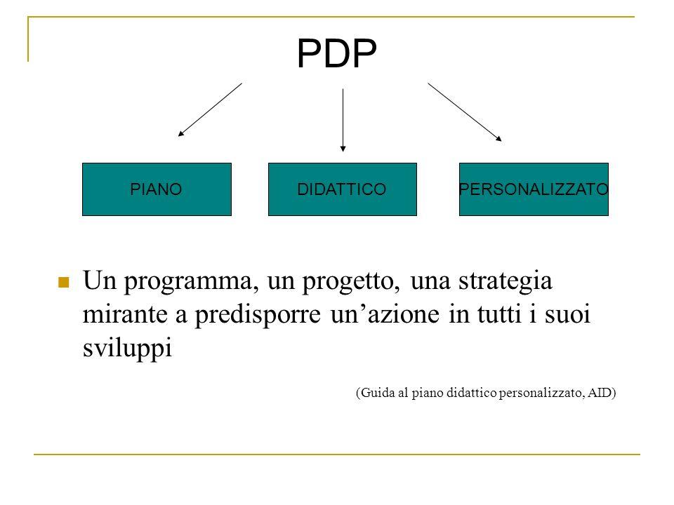 PDP Un programma, un progetto, una strategia mirante a predisporre un'azione in tutti i suoi sviluppi.