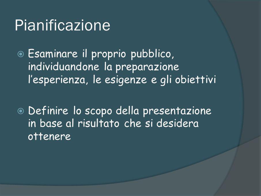 Pianificazione Esaminare il proprio pubblico, individuandone la preparazione l'esperienza, le esigenze e gli obiettivi.