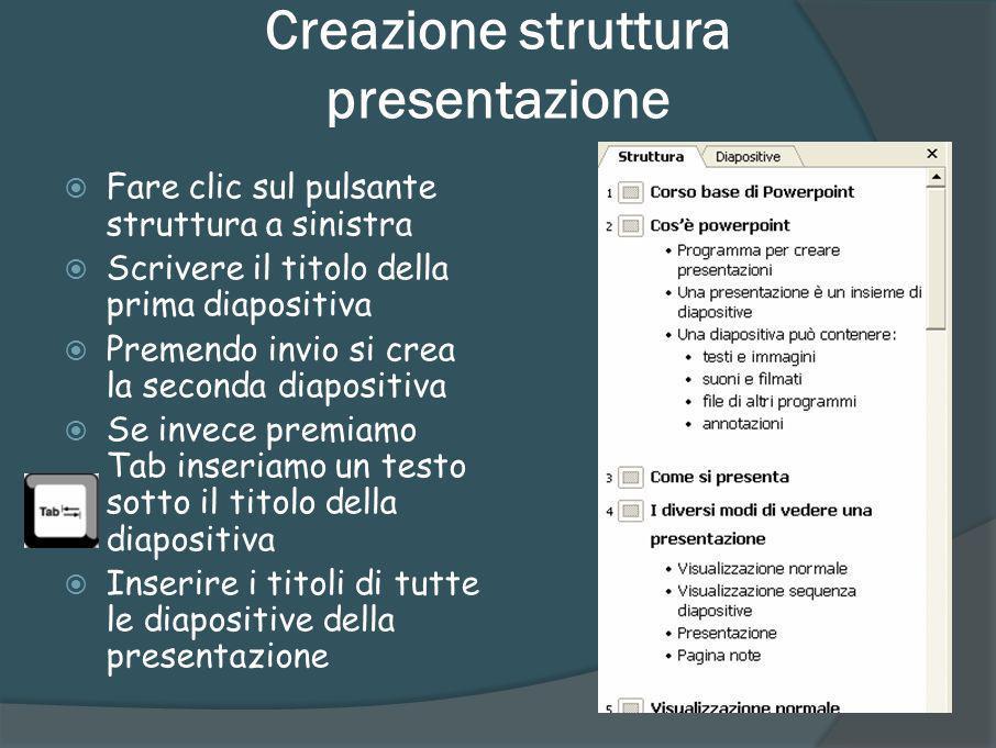 Creazione struttura presentazione
