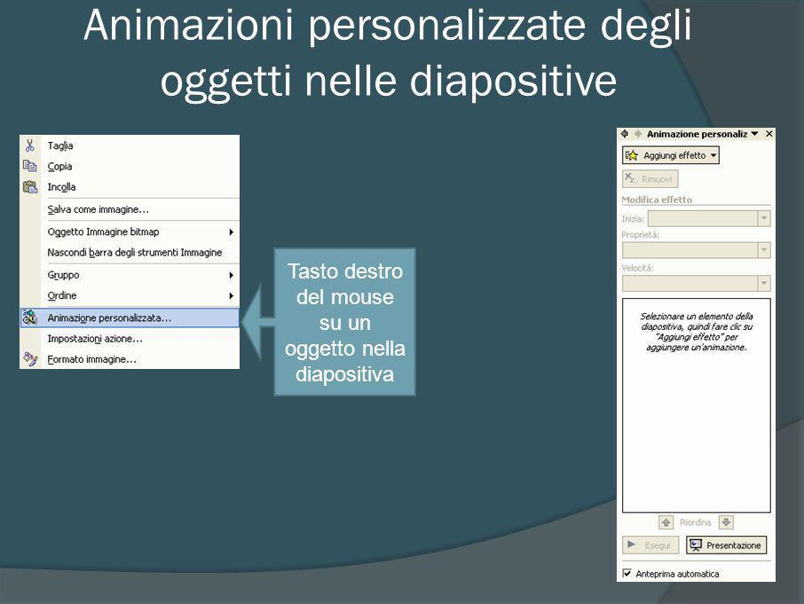 Animazioni personalizzate degli oggetti nelle diapositive