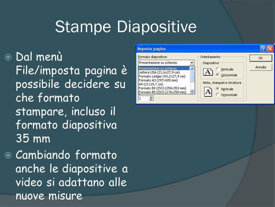 Stampe Diapositive Dal menù File/imposta pagina è possibile decidere su che formato stampare, incluso il formato diapositiva 35 mm.