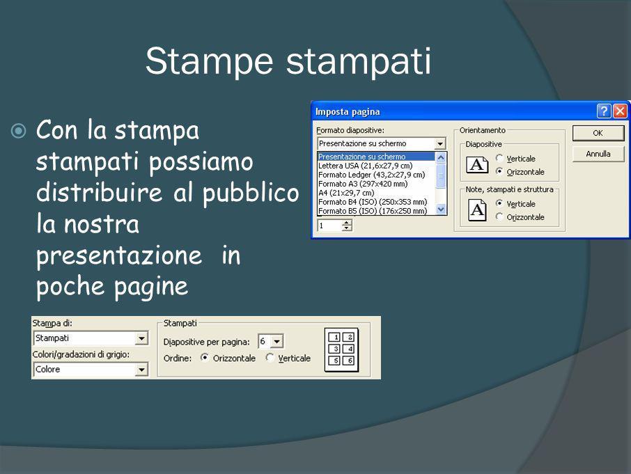 Stampe stampati Con la stampa stampati possiamo distribuire al pubblico la nostra presentazione in poche pagine.