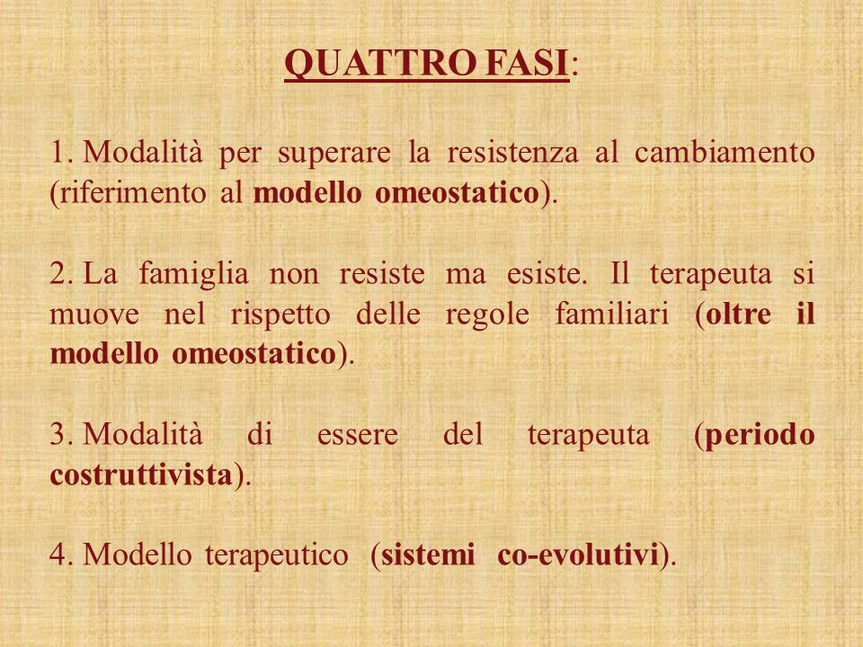 QUATTRO FASI: Modalità per superare la resistenza al cambiamento (riferimento al modello omeostatico).