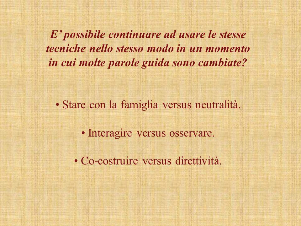 Stare con la famiglia versus neutralità. Interagire versus osservare.