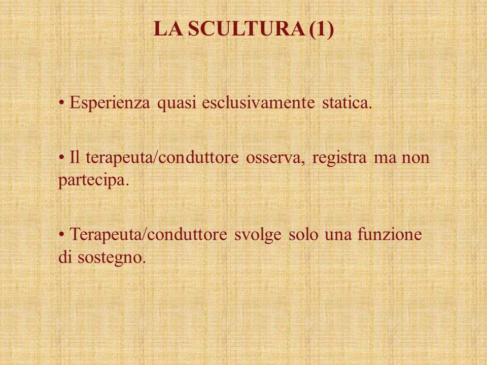 LA SCULTURA (1) Esperienza quasi esclusivamente statica.