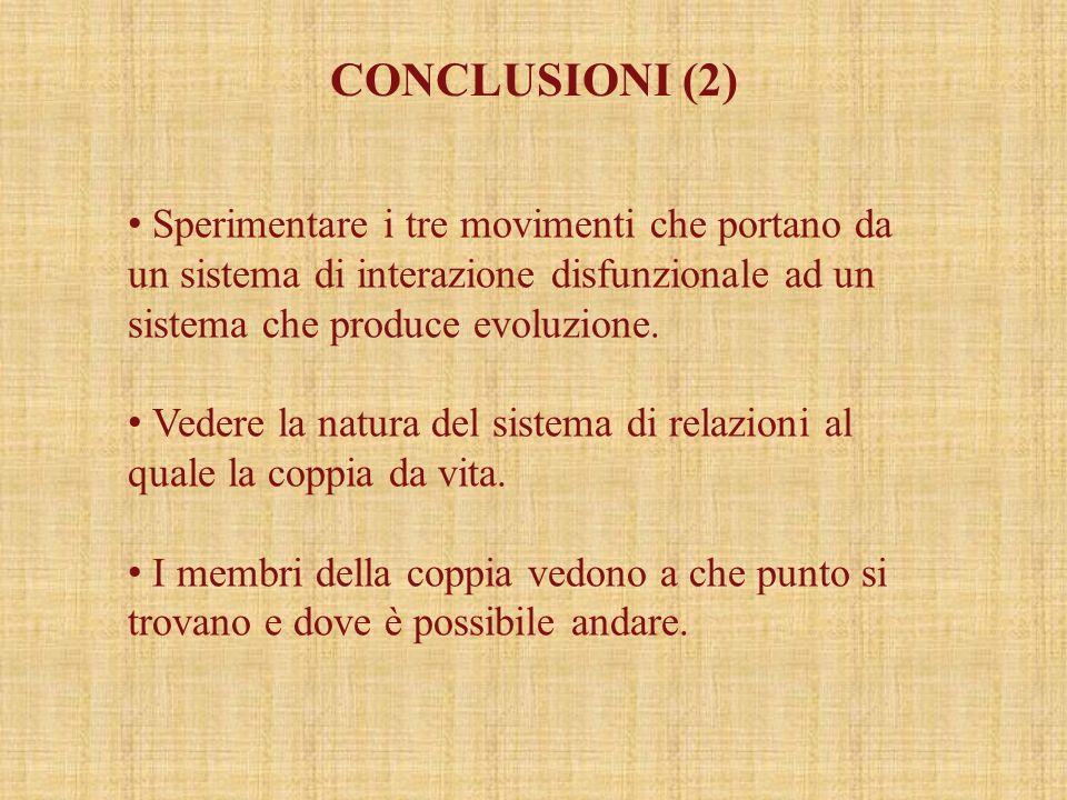 CONCLUSIONI (2) Sperimentare i tre movimenti che portano da un sistema di interazione disfunzionale ad un sistema che produce evoluzione.