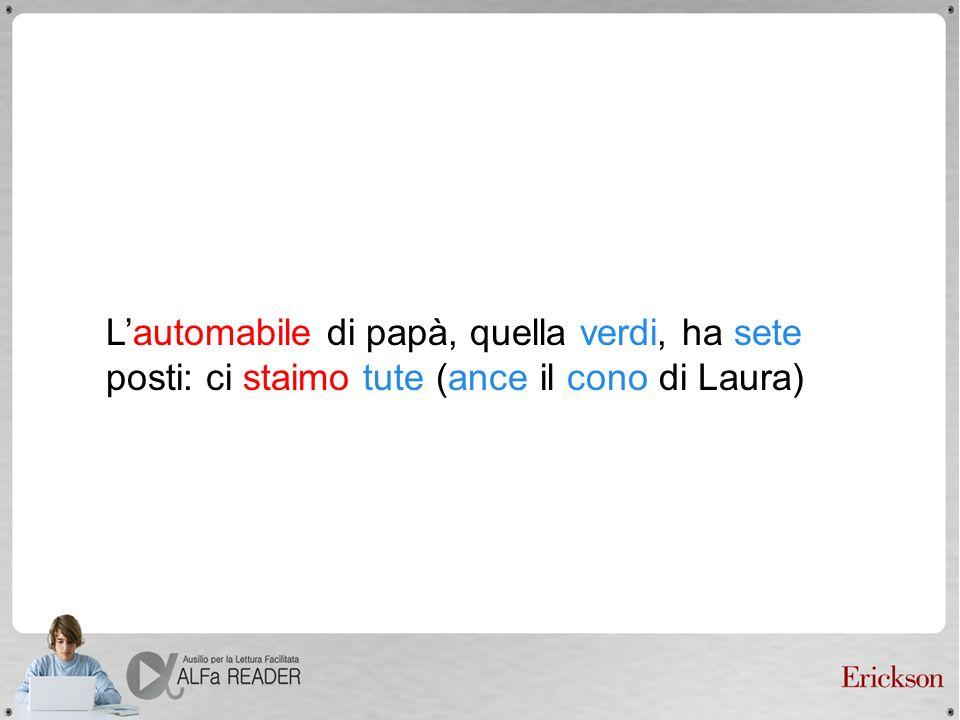 L'automabile di papà, quella verdi, ha sete posti: ci staimo tute (ance il cono di Laura)