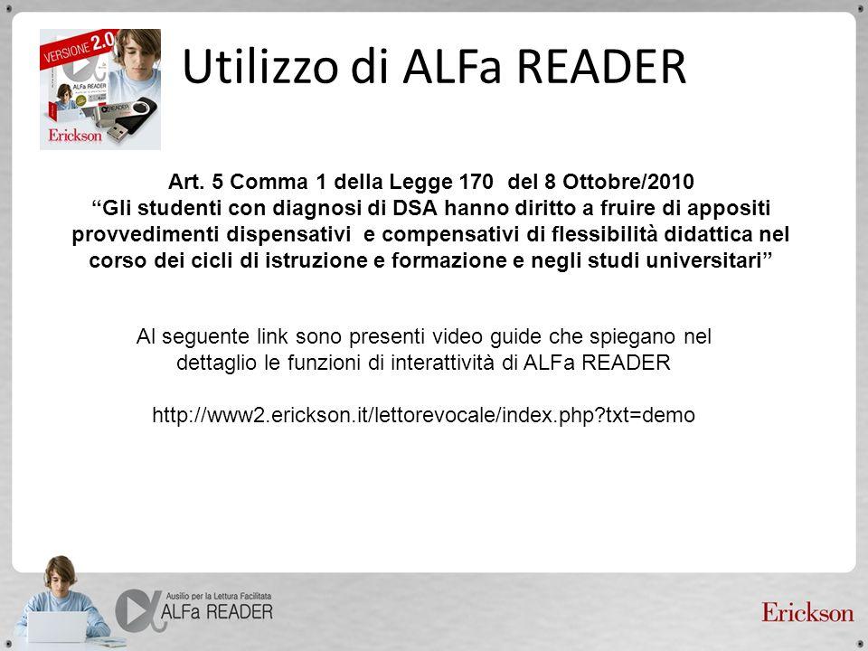 Utilizzo di ALFa READER