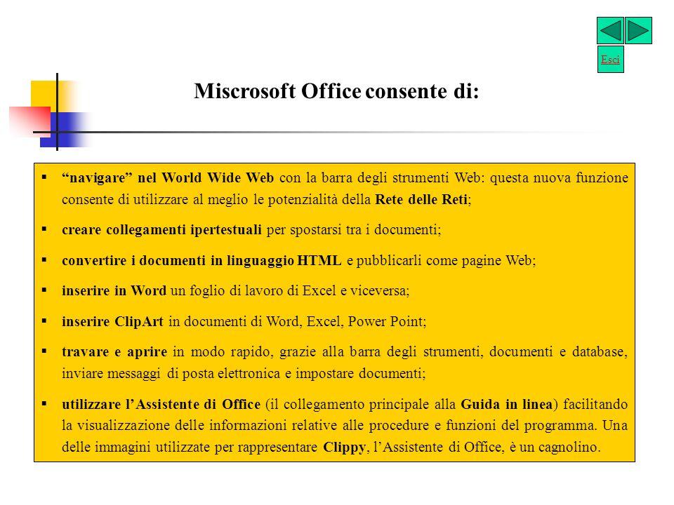 Miscrosoft Office consente di: