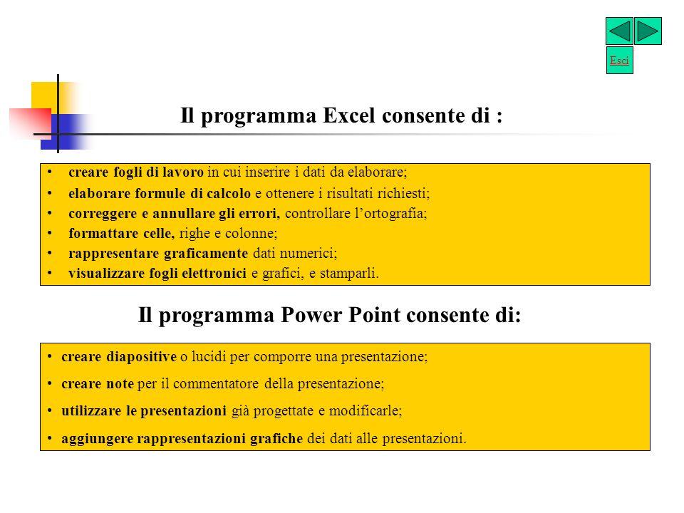 Il programma Excel consente di :