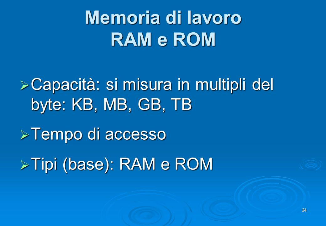 Memoria di lavoro RAM e ROM