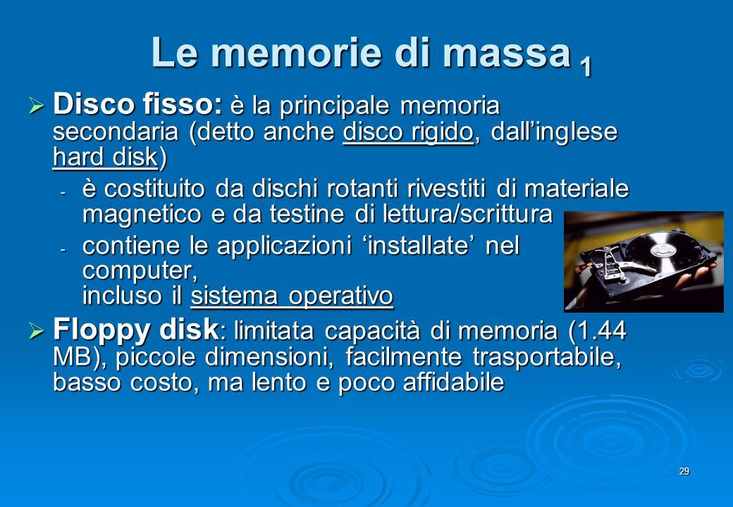 Le memorie di massa 1 Disco fisso: è la principale memoria secondaria (detto anche disco rigido, dall'inglese hard disk)