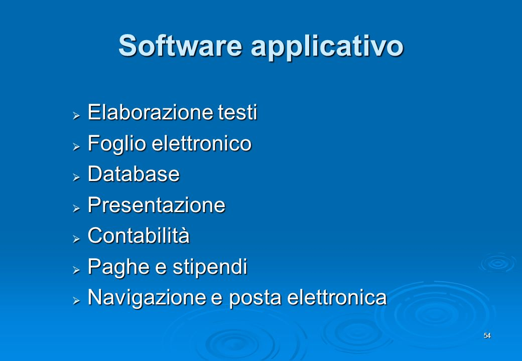 Software applicativo Elaborazione testi Foglio elettronico Database