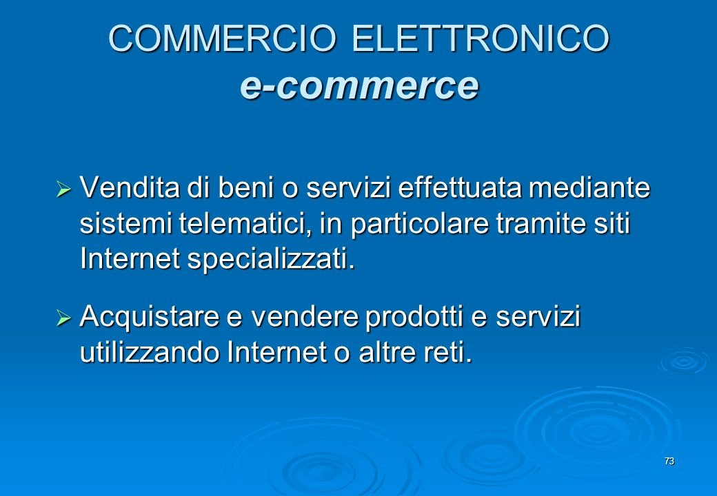 COMMERCIO ELETTRONICO e-commerce