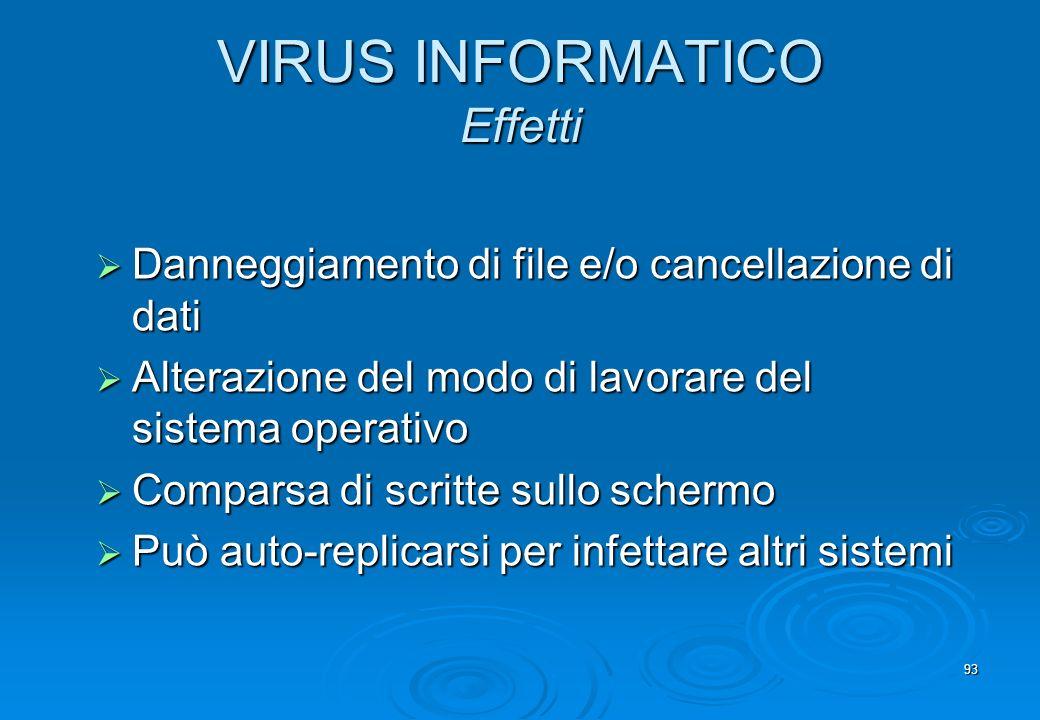 VIRUS INFORMATICO Effetti