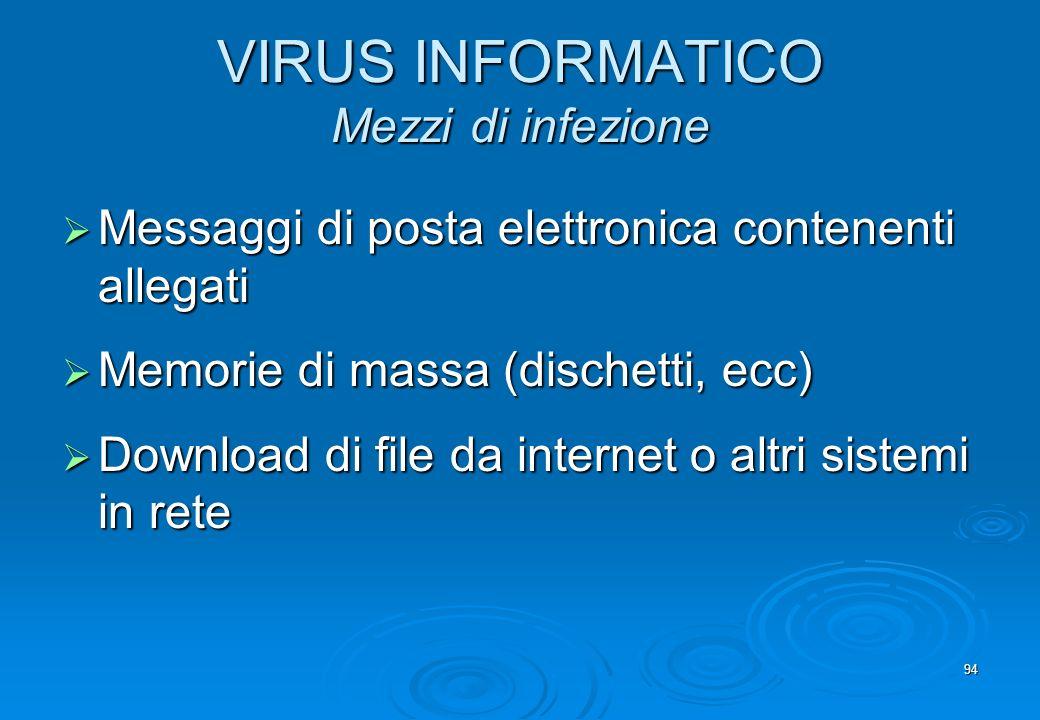 VIRUS INFORMATICO Mezzi di infezione