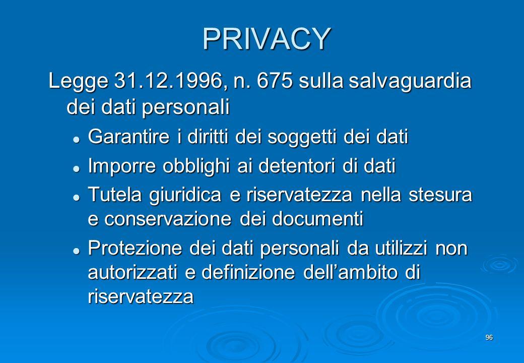 PRIVACY Legge 31.12.1996, n. 675 sulla salvaguardia dei dati personali