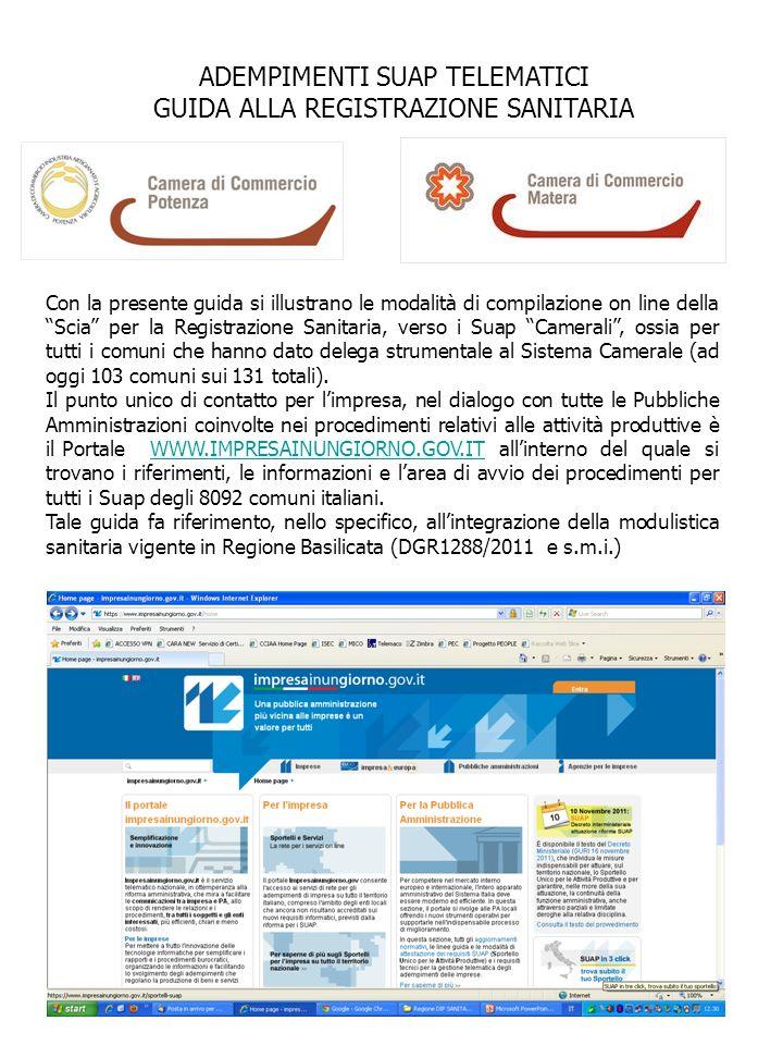 ADEMPIMENTI SUAP TELEMATICI GUIDA ALLA REGISTRAZIONE SANITARIA
