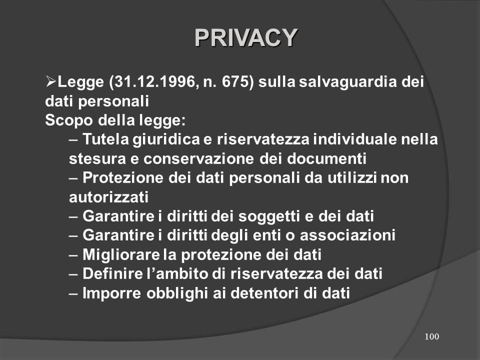PRIVACY Legge (31.12.1996, n. 675) sulla salvaguardia dei dati personali. Scopo della legge: