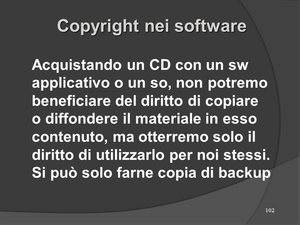 Copyright nei software