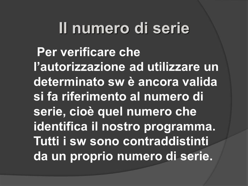 Il numero di serie