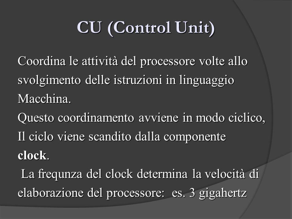 CU (Control Unit) Coordina le attività del processore volte allo