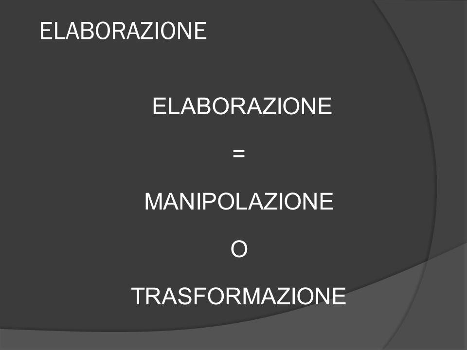 ELABORAZIONE = MANIPOLAZIONE O TRASFORMAZIONE