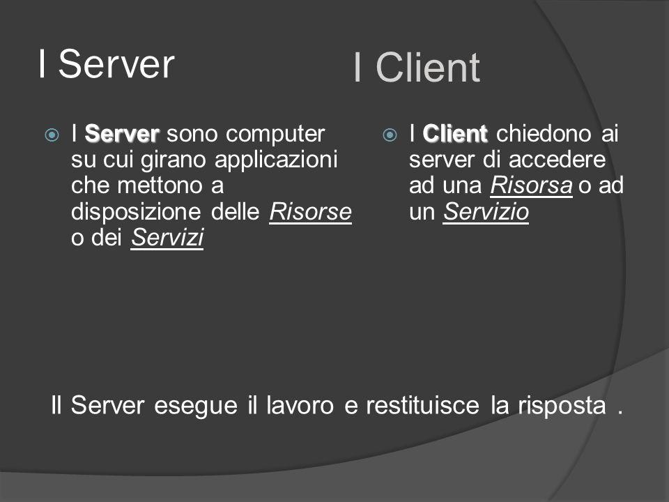 I Server I Client. I Server sono computer su cui girano applicazioni che mettono a disposizione delle Risorse o dei Servizi.