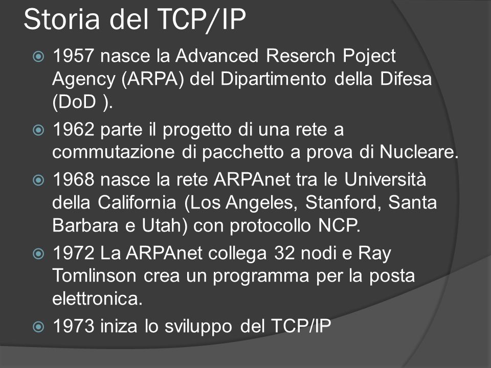 Storia del TCP/IP 1957 nasce la Advanced Reserch Poject Agency (ARPA) del Dipartimento della Difesa (DoD ).