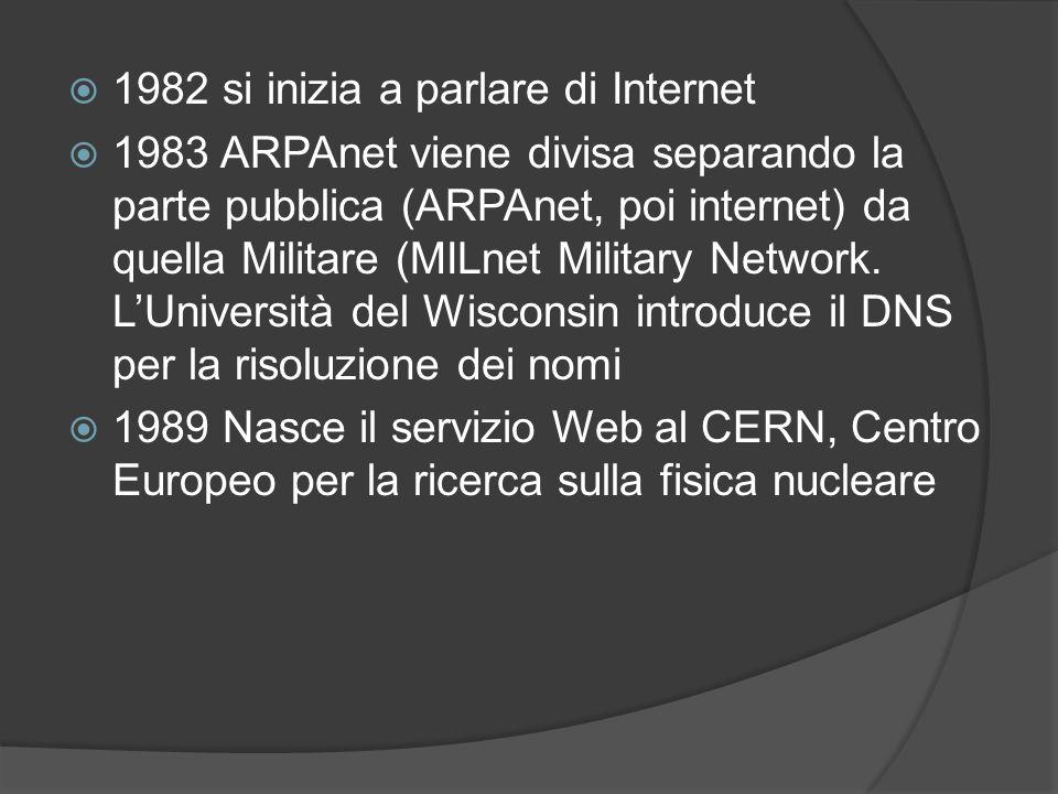 1982 si inizia a parlare di Internet