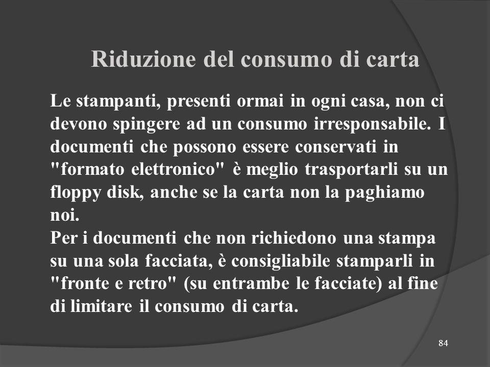 Riduzione del consumo di carta