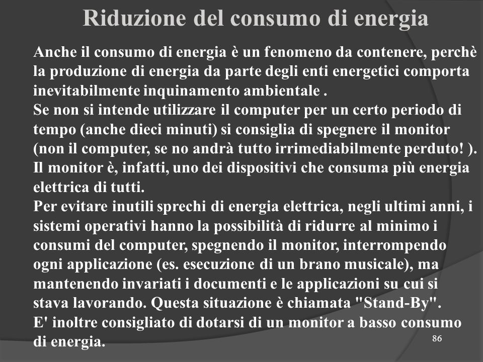 Riduzione del consumo di energia