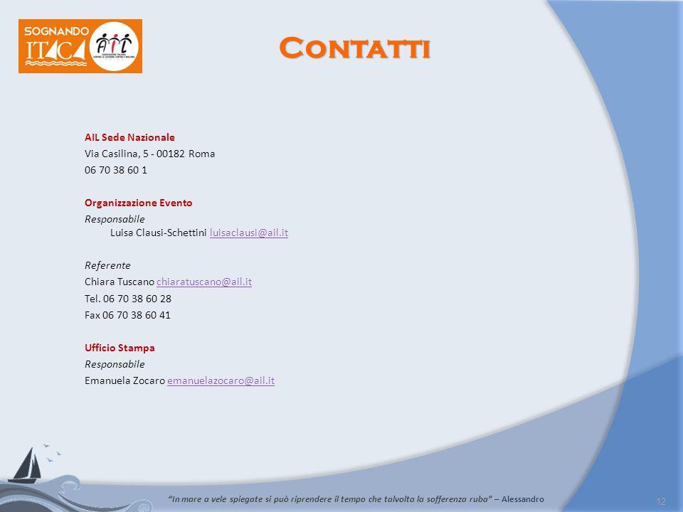 Contatti AIL Sede Nazionale Via Casilina, 5 - 00182 Roma 06 70 38 60 1