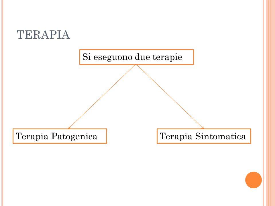 TERAPIA Si eseguono due terapie Terapia Patogenica Terapia Sintomatica