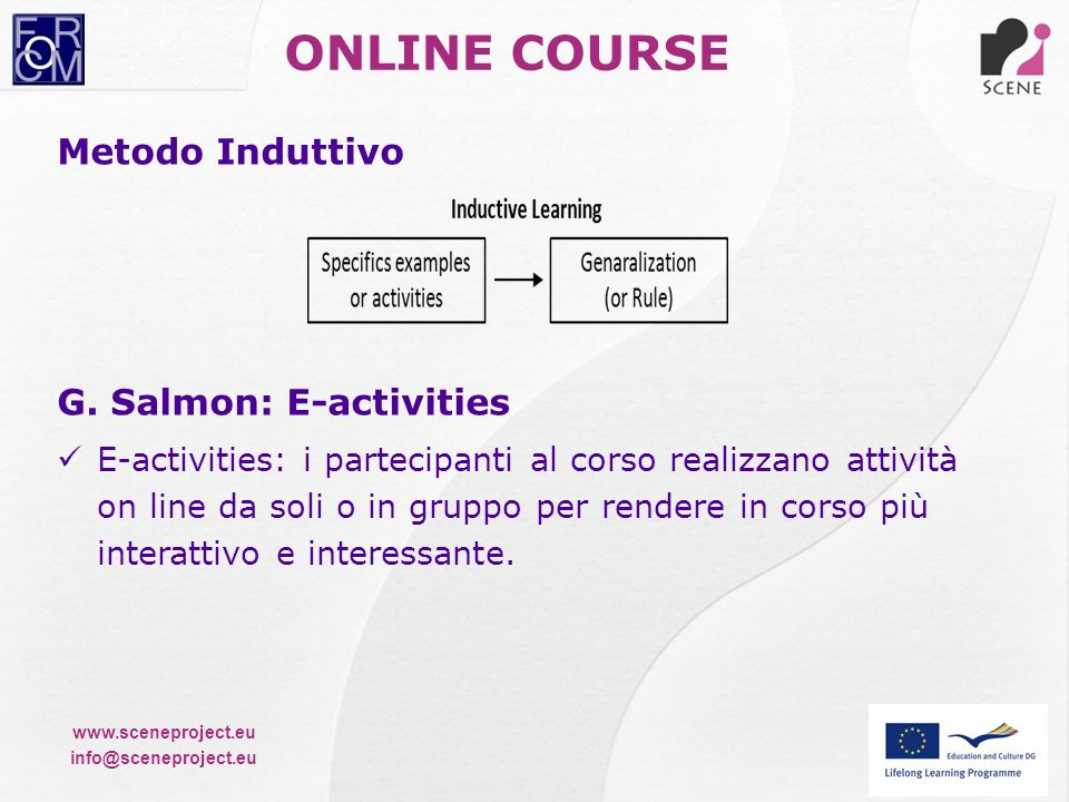 ONLINE COURSE Metodo Induttivo G. Salmon: E-activities
