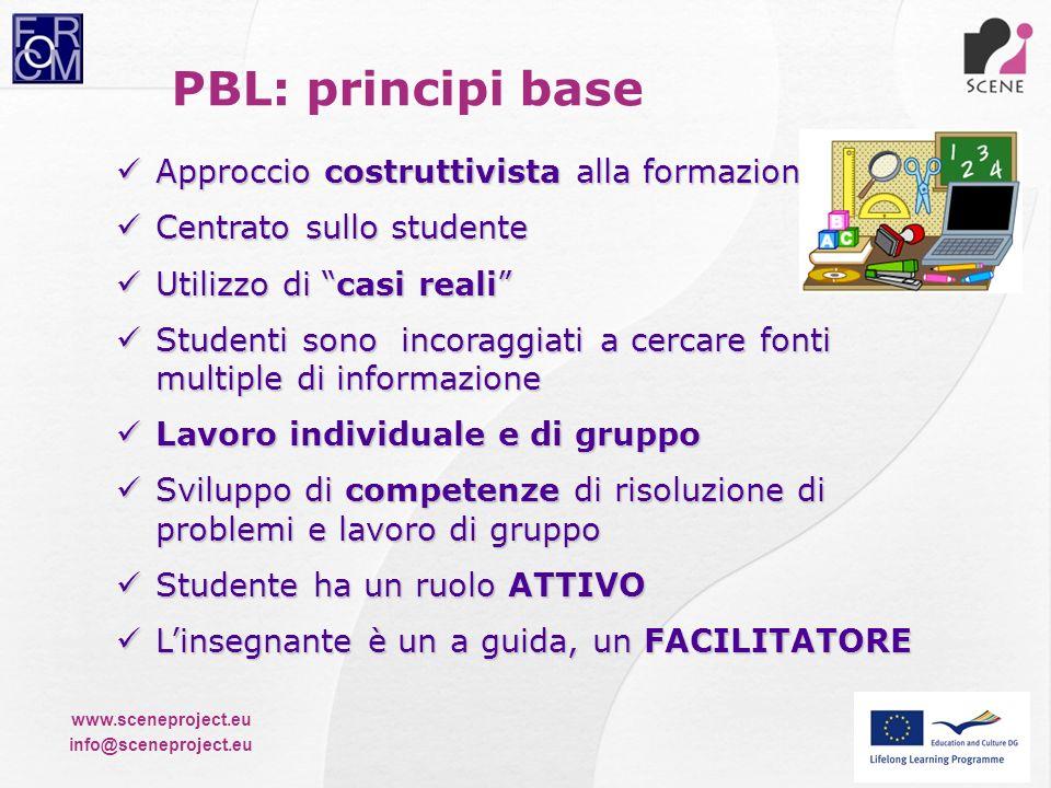 PBL: principi base Approccio costruttivista alla formazione