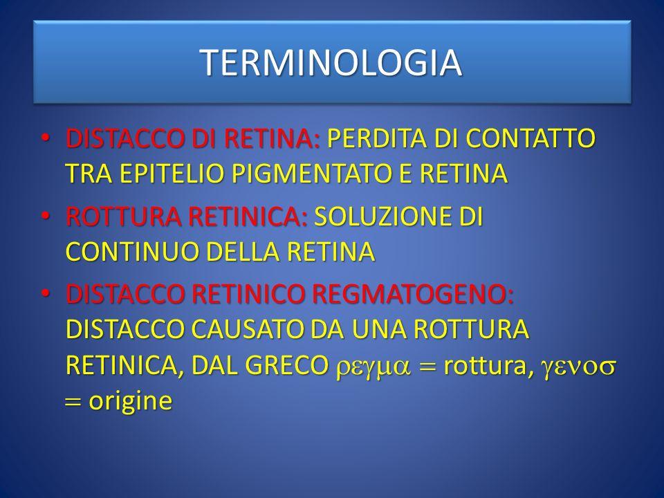 TERMINOLOGIA DISTACCO DI RETINA: PERDITA DI CONTATTO TRA EPITELIO PIGMENTATO E RETINA. ROTTURA RETINICA: SOLUZIONE DI CONTINUO DELLA RETINA.