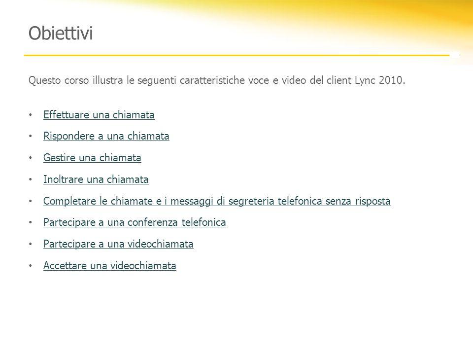 Obiettivi Questo corso illustra le seguenti caratteristiche voce e video del client Lync 2010. Effettuare una chiamata.