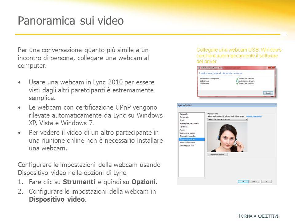 Panoramica sui video Per una conversazione quanto più simile a un incontro di persona, collegare una webcam al computer.