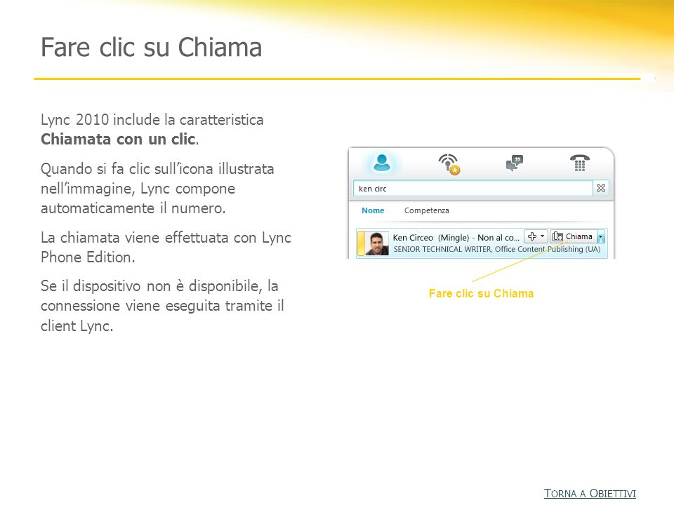 Fare clic su Chiama