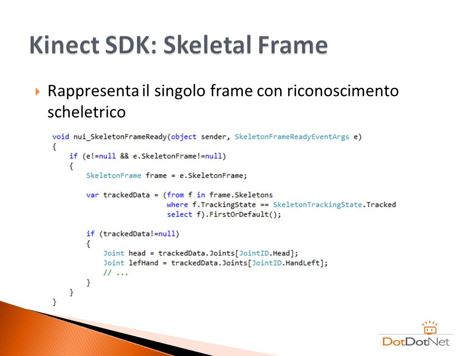 Kinect SDK: Skeletal Frame