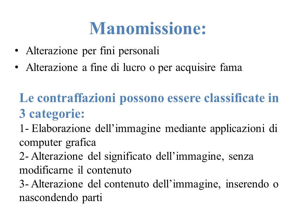 Manomissione:Alterazione per fini personali. Alterazione a fine di lucro o per acquisire fama.