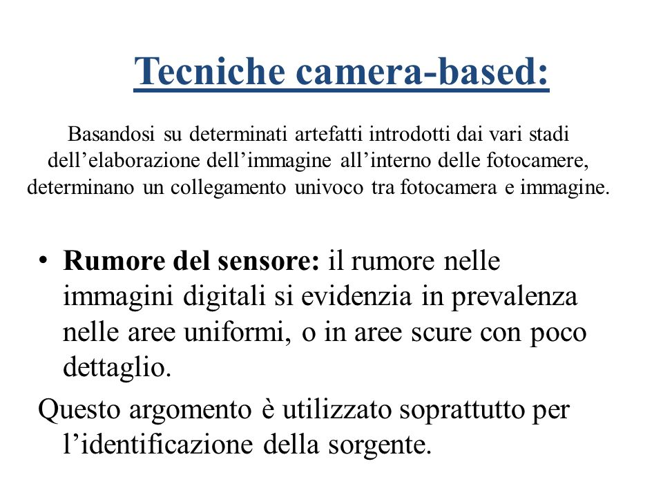 Tecniche camera-based: